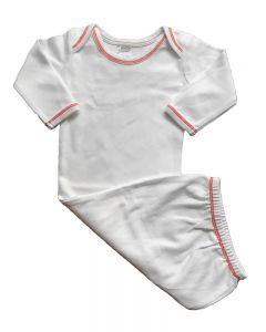 Interlock Long Sleeve Contrast Stitch Baby Gown