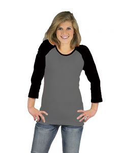 Baby Rib 3/4 Sleeve Raglan Tee-Heather/Black-XS