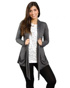 Long Sleeve Open Jacket with Pockets-Heather Navy-XS