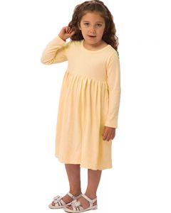 Youth Long Sleeve Empire Dress-Lemon-Youth S