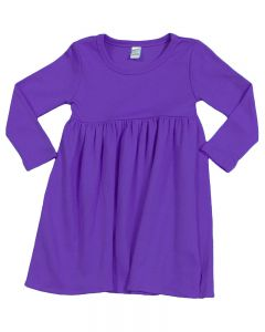 Youth Long Sleeve Empire Dress-Purple-Youth S