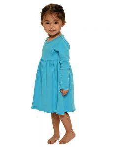 Youth Long Sleeve Empire Dress-Turquoise-Youth S