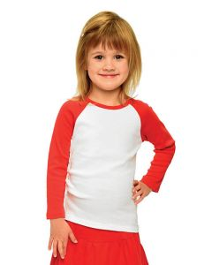 Baby Rib Long Sleeve Girls Raglan Tee-White/Red-6-12m