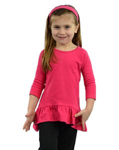 Toddler Interlock 3/4 Sleeve Raglan Frill Tee-White-2