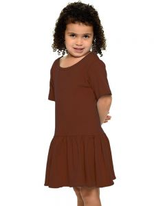 Youth Short Sleeve Pleated Dress-Chocolate-YS
