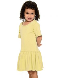 Youth Short Sleeve Pleated Dress-Lemon-YS