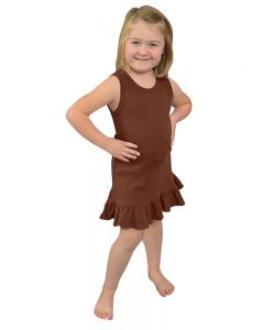 Youth Frill Bottom Tank Dress-Chocolate-Youth S