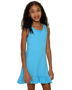 Youth Frill Bottom Tank Dress-Turquoise-Youth S