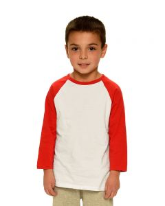 Toddler Fine Jersey Raglan Tee-Heather/Red-2