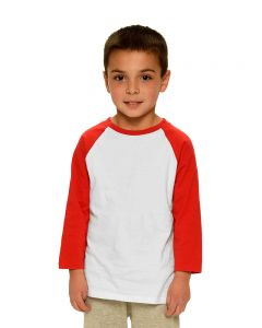 Toddler Fine Jersey Raglan Tee-White/Red-2