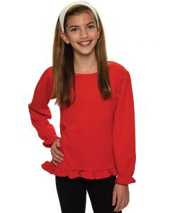 Interlock Long Sleeve Ruffle Tee
