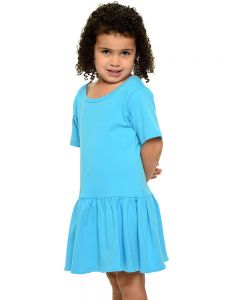 Youth Short Sleeve Pleated Dress-Turquoise-YS