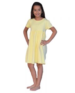 Youth Short Sleeve Empire Dress-Lemon-YS