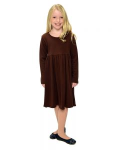 Youth Long Sleeve Empire Dress-Chocolate-Youth S