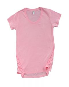 Fine Jersey Short Sleeve Ruched Side Maternity Tee-Pink-S