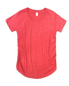 Cotton-Poly Short Sleeve Maternity Tee-Heather Red-S