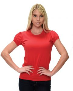 Ladies Fine Jersey Short Sleeve Pleated Tee