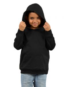 Youth Fleece Hooded Pullover-Black-Youth S