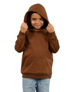Youth Fleece Hooded Pullover-Chocolate-Youth S
