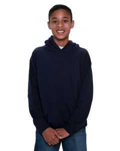 Youth Fleece Hooded Pullover-Navy-Youth S