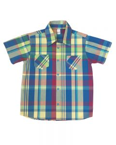 Boys Short Sleeve Blue Green Plaid Button Down Shirt