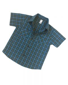 Short Sleeve Navy Gold Plaid Button Down Shirt