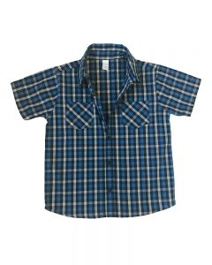 Short Sleeve Blue Grey Plaid Button Down Shirt