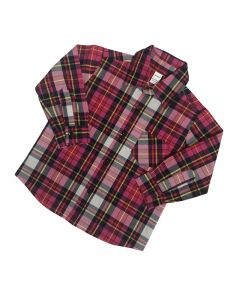 Long Sleeve Button Down Plaid Shirts-Pink/Black-2y