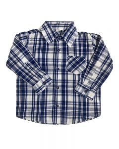 Long Sleeve Plaid Button Down Shirt-Navy/White-2y