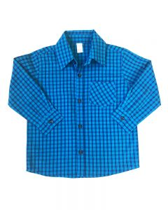 Long Sleeve Plaid Button Down Shirt-Shades Of Blue-2y