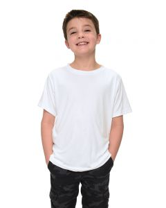 Youth Polyester Short Sleeve Crew Neck Tee-White-YL