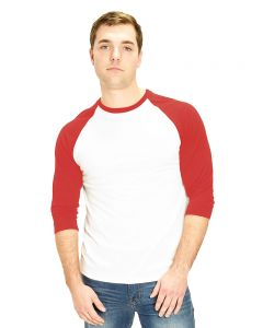 Polyester 3/4 Sleeve Raglan Tee-White/Red-S