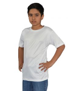 Youth Micropoly Short Sleeve Crew Neck Tee-White-YL