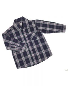 Long Sleeve Plaid Button Down Shirts-Purple/Pink/Green-2y