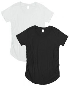 Maternity Ruched Round Bottom Shirts 2 Pack-Black/White-L