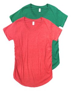Maternity Ruched Round Bottom Shirts 2 Pack-Red/Green-S