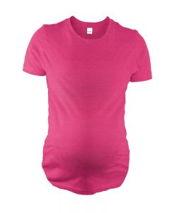 Fine Jersey Short Sleeve Ruched, Round Bottom Maternity Tee-Fuchsia-S